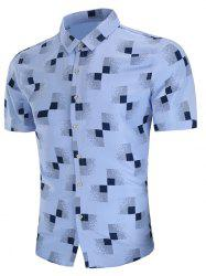 Geometric Print Short Sleeve Casual Shirt -