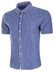 Stripe Print Button Down Slim Fit Shirt -