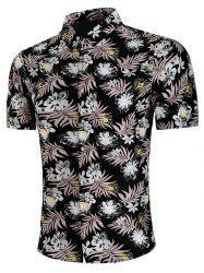 Short Sleeve Allover Flower Print Casual Shirt -