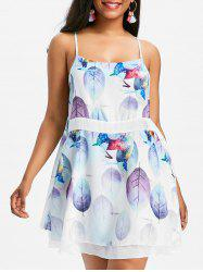 Leaf Print Backless Slip Dress -