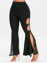 Cut Out Lace Panel Side Slit Flare Pants -