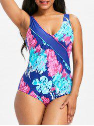 One Piece Flower Print Backless Swimwear -