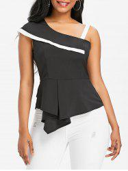 Asymmetrical One Shoulder Peplum Blouse -