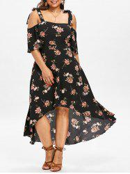 Plus Size Floral Maxi Cold Shoulder Dress -