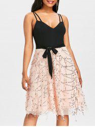 Double Straps Sequins Fit and Flare Dress -