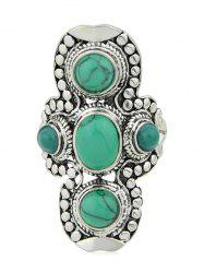 Carved Metal Faux Stone Decorative Ring -