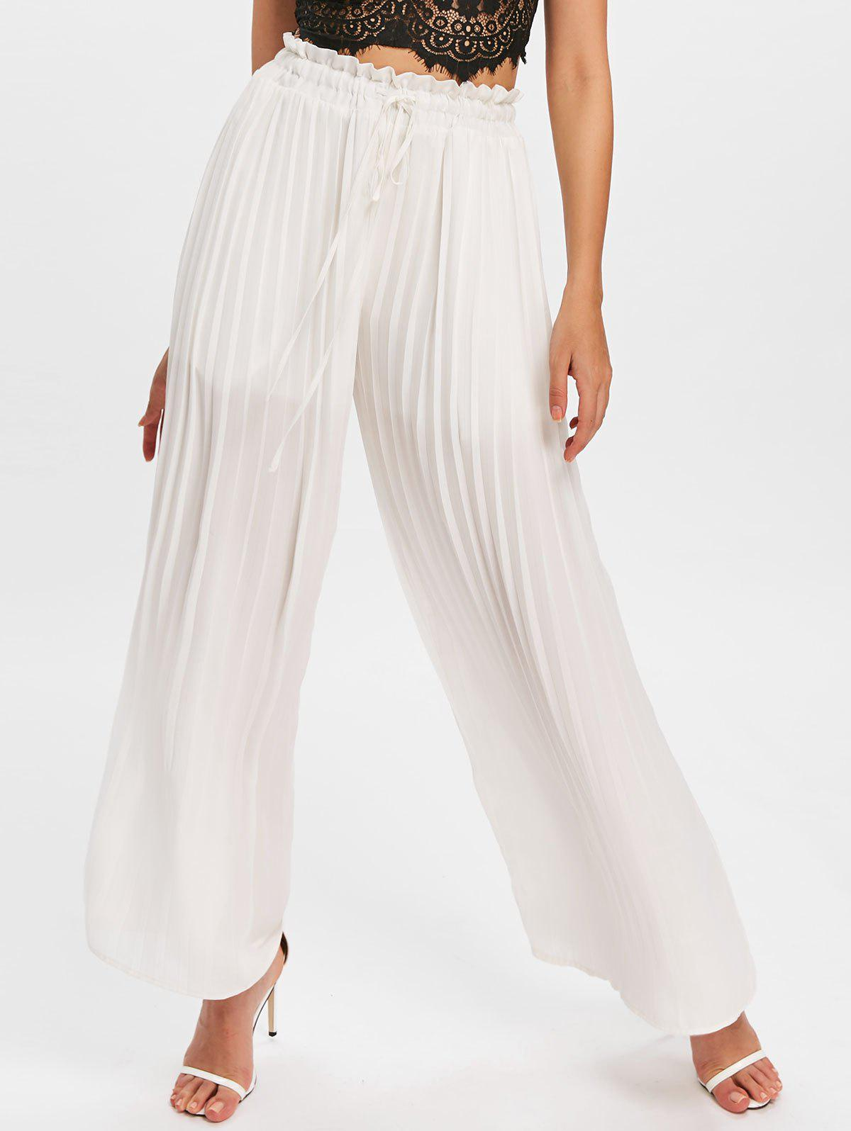 Hot Drawstring Semi Sheer Palazzo Pants
