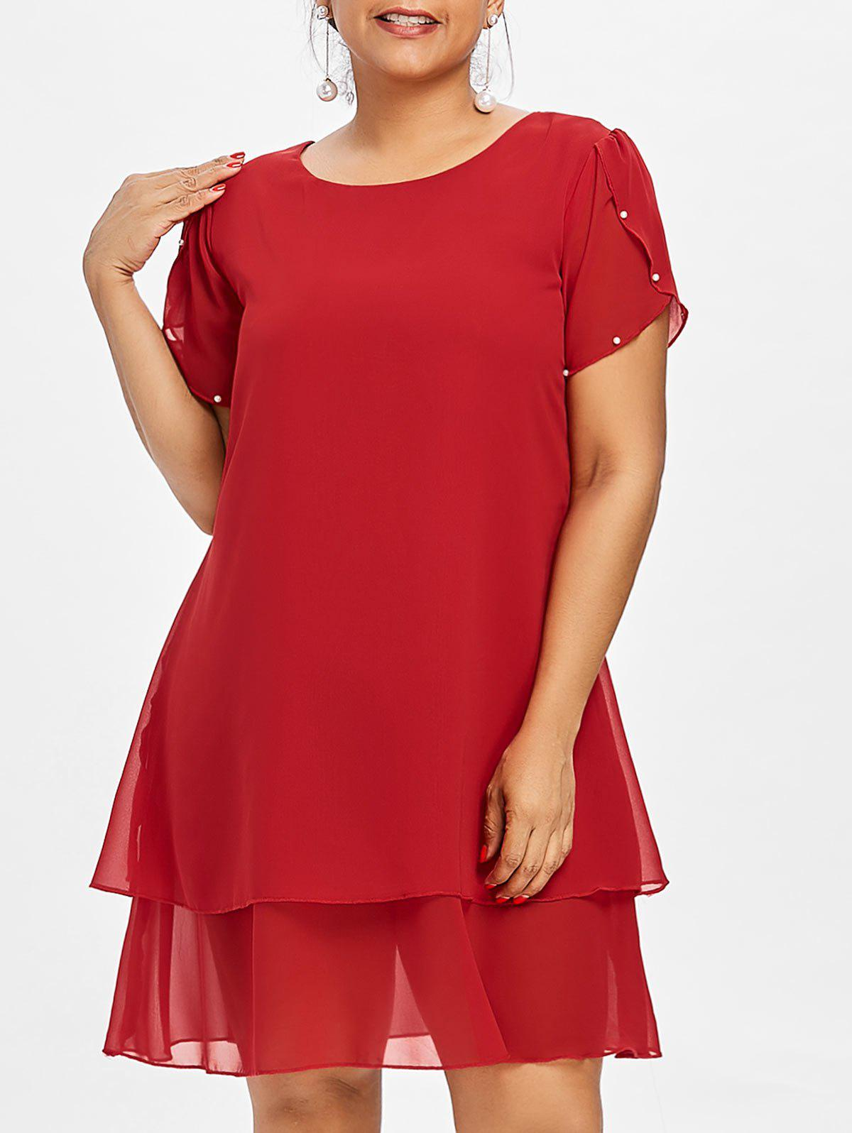 Hot Plus Size Pearl Embellished Tunic Dress