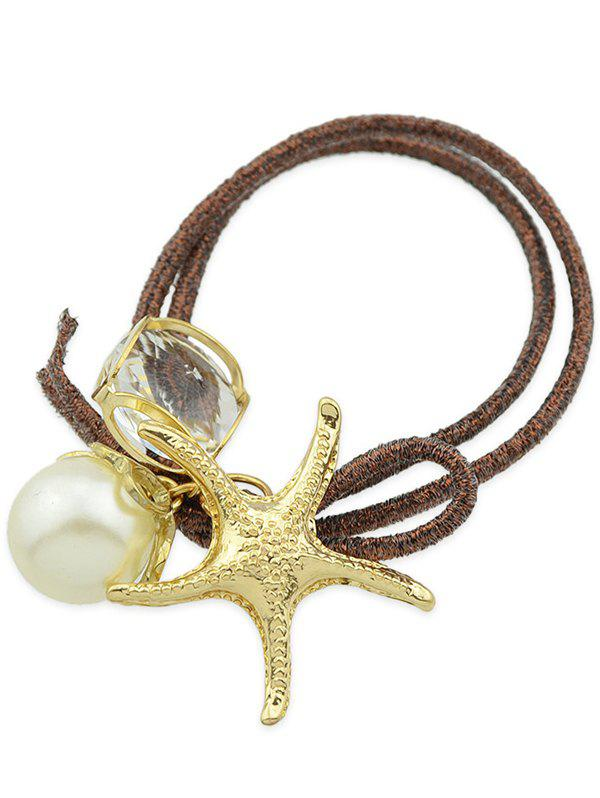 Trendy Stylish Starfish Faux Pearl Decorative Hair Elastic Band
