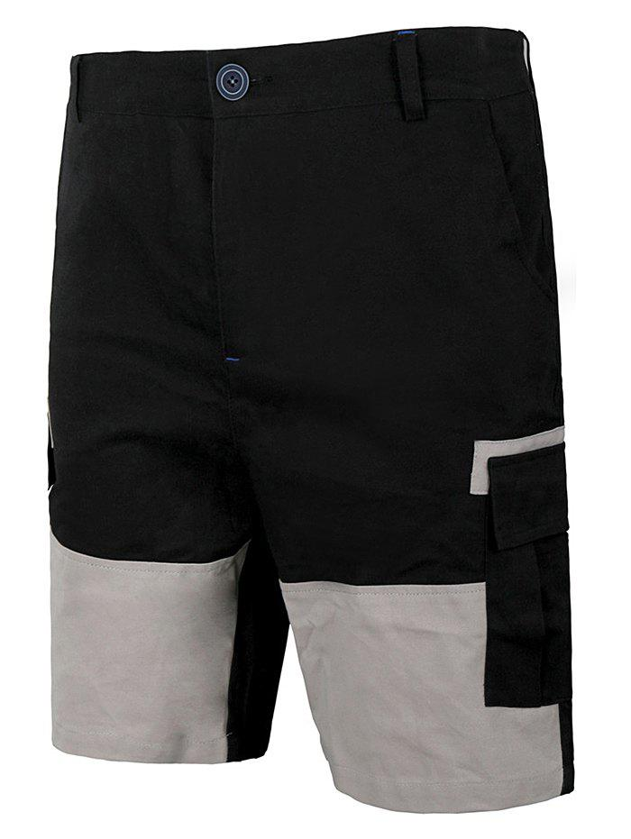 Shop Panel Two Tone Flap Pocket Casual Shorts