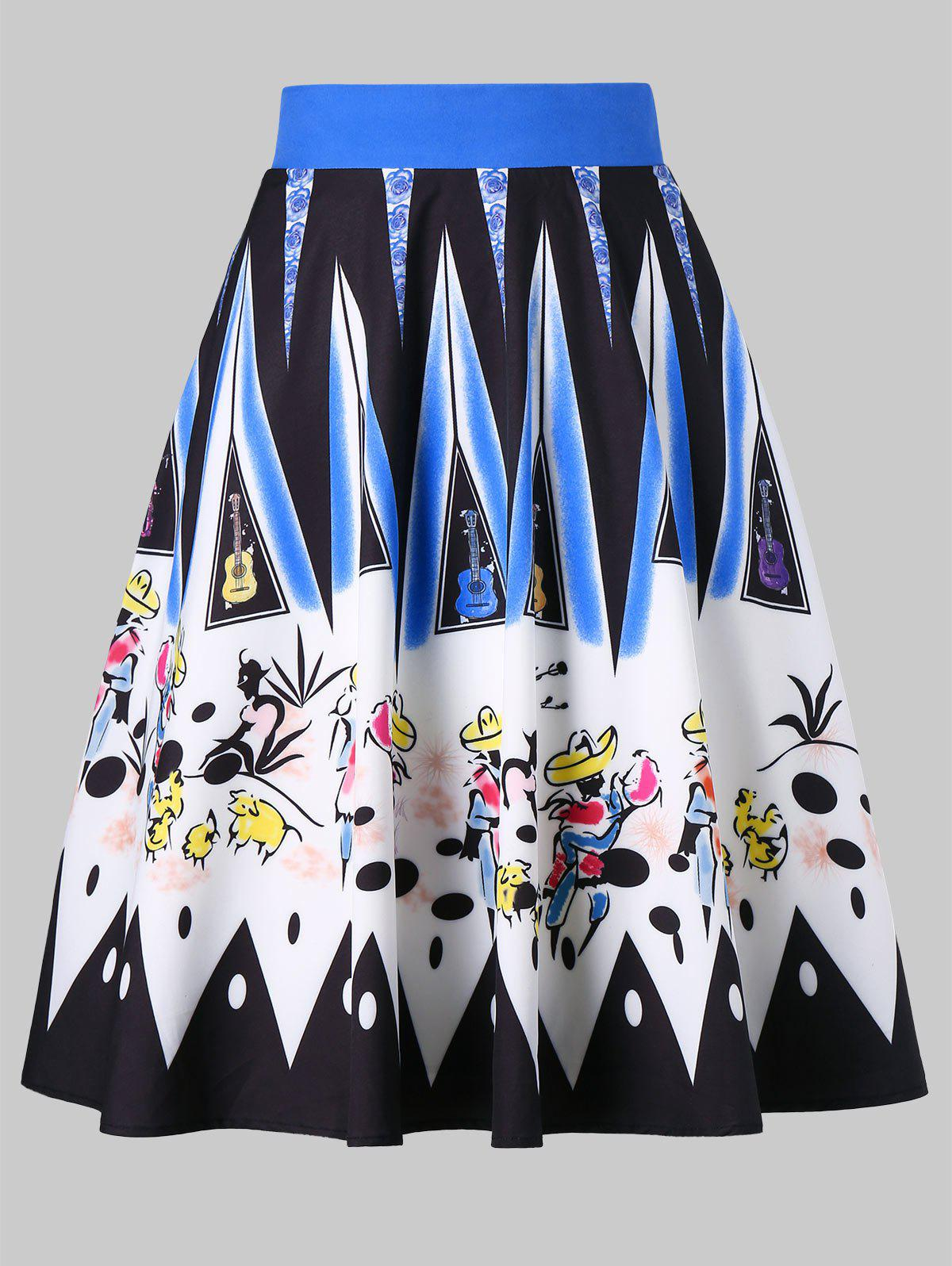Unique Brushwork Graphic Colorful Skirt