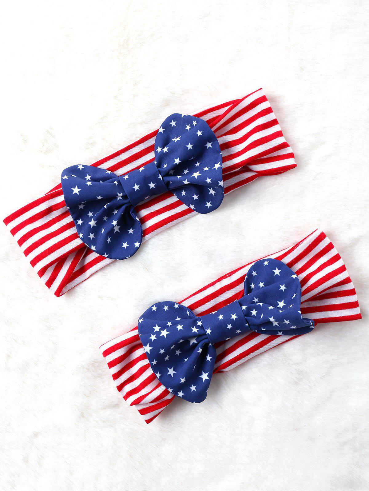 Outfit Bowknot Decorated Elastic American Flag Headband