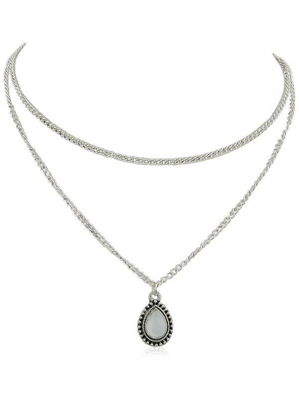 Unique Two-double Bead Embellished Waterdrop Shape Pendant Necklace