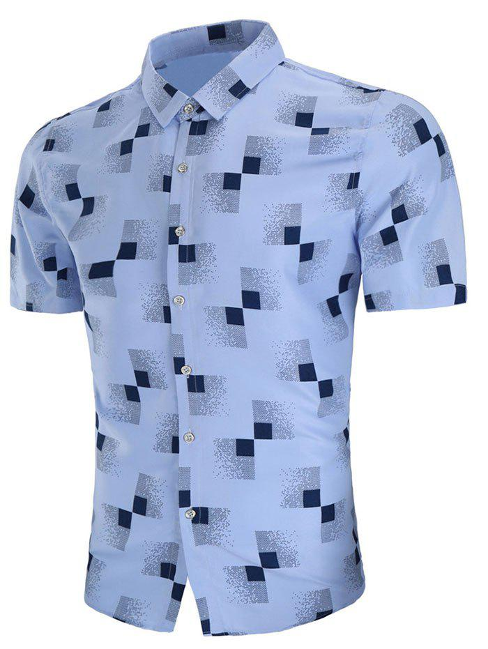 Hot Geometric Print Short Sleeve Casual Shirt