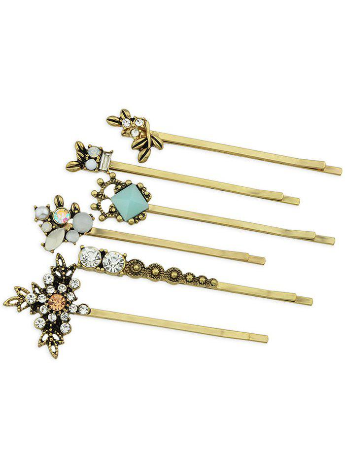 Affordable Set of 6Pcs  Rhinestone Inlaid Artificial Gem Hairpin