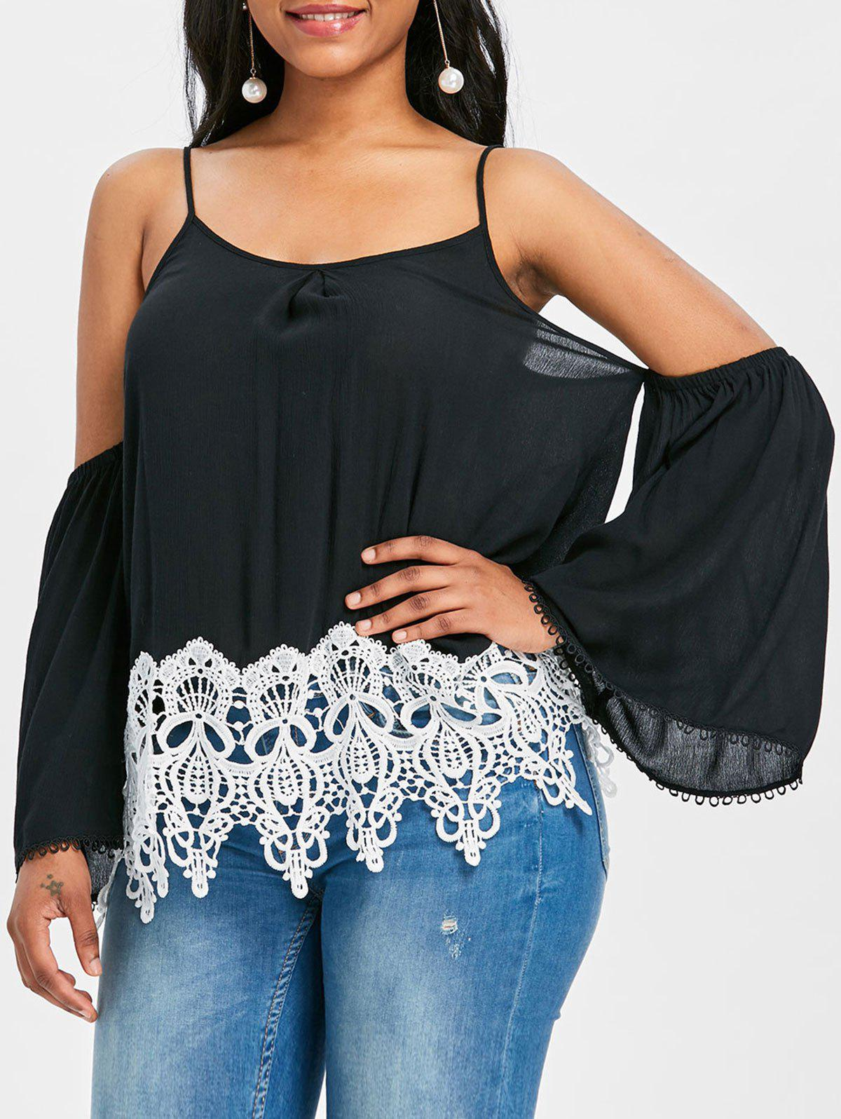 Fancy Lace Trim Cold Shoulder Blouse