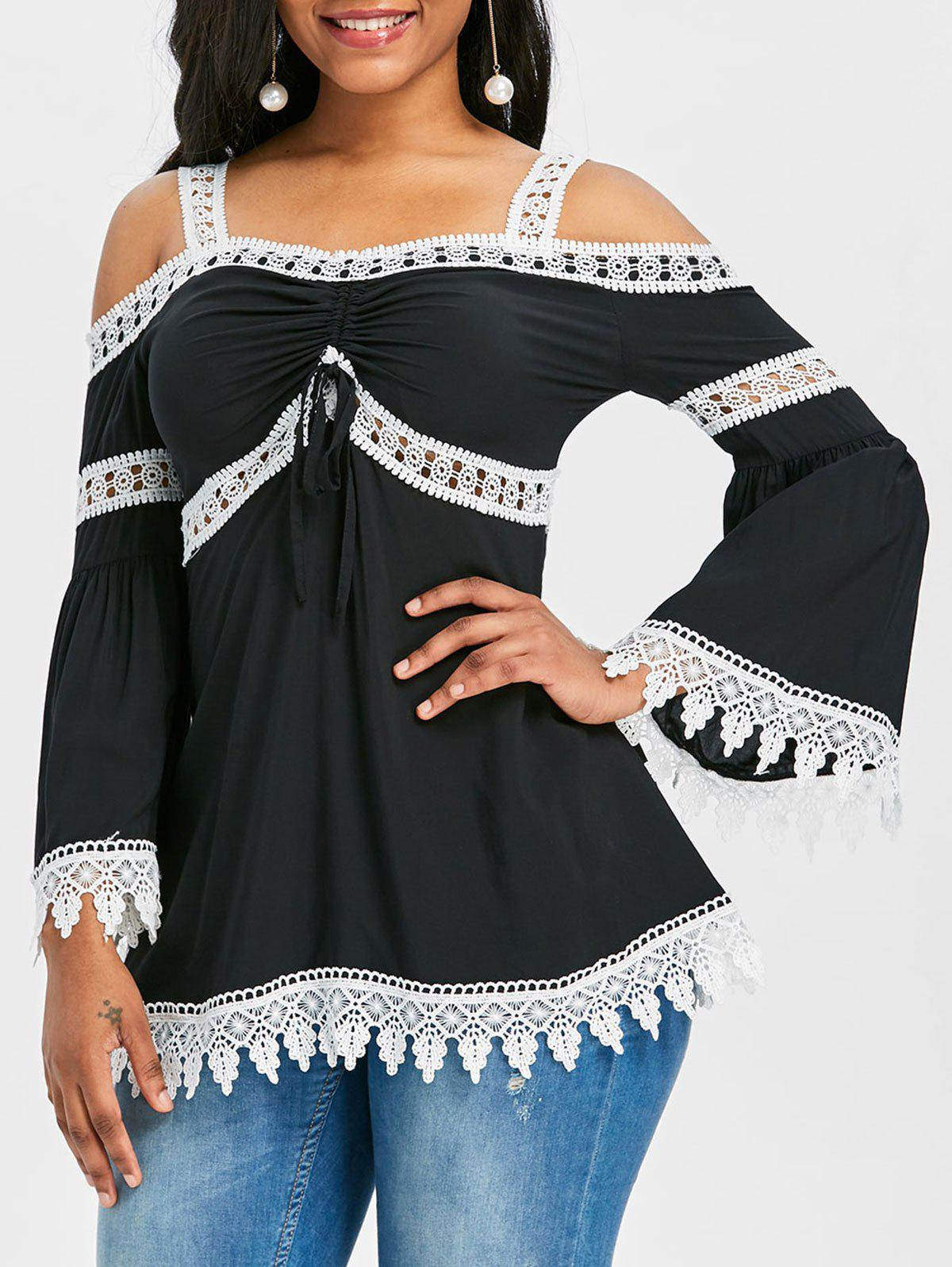 Affordable Flare Sleeve Cold Shoulder Lace Insert Blouse