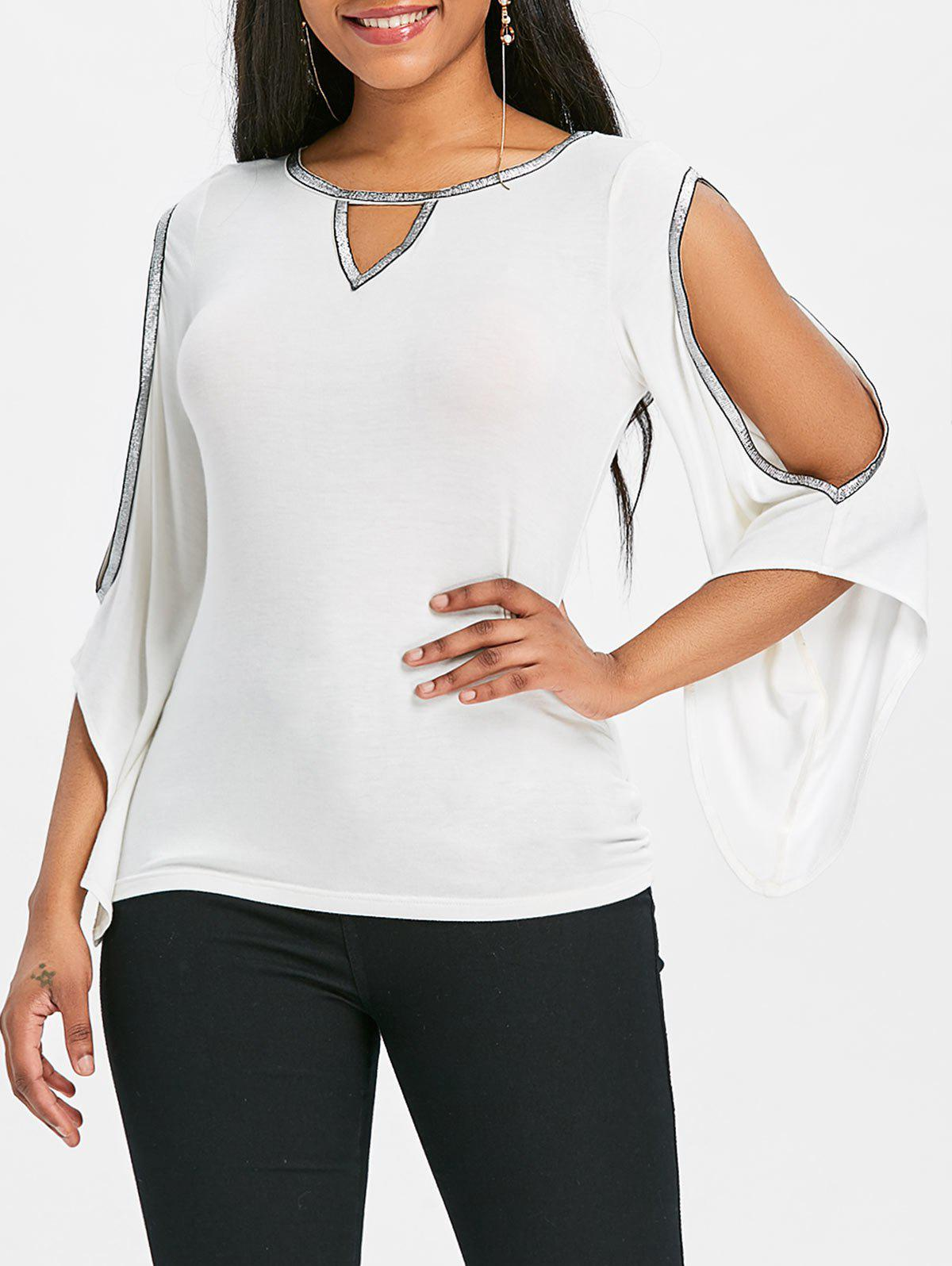 Cheap Keyhole Neck Sparkle Cold Shoulder T-shirt
