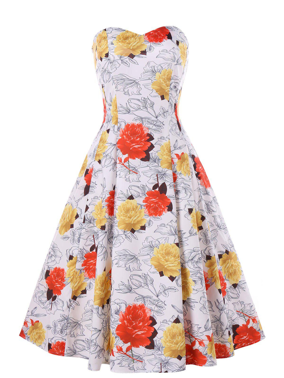 Shops Floral Print Cocktail Strapless Dress