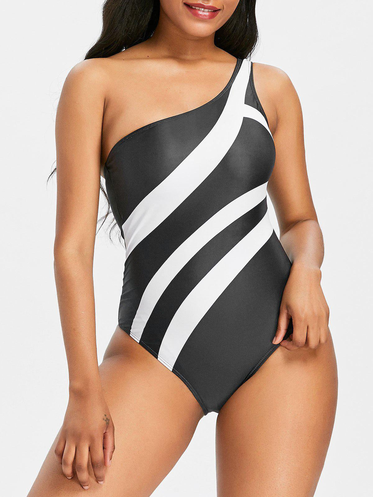 Cheap One Shoulder One Piece Stripe Bathing Suit