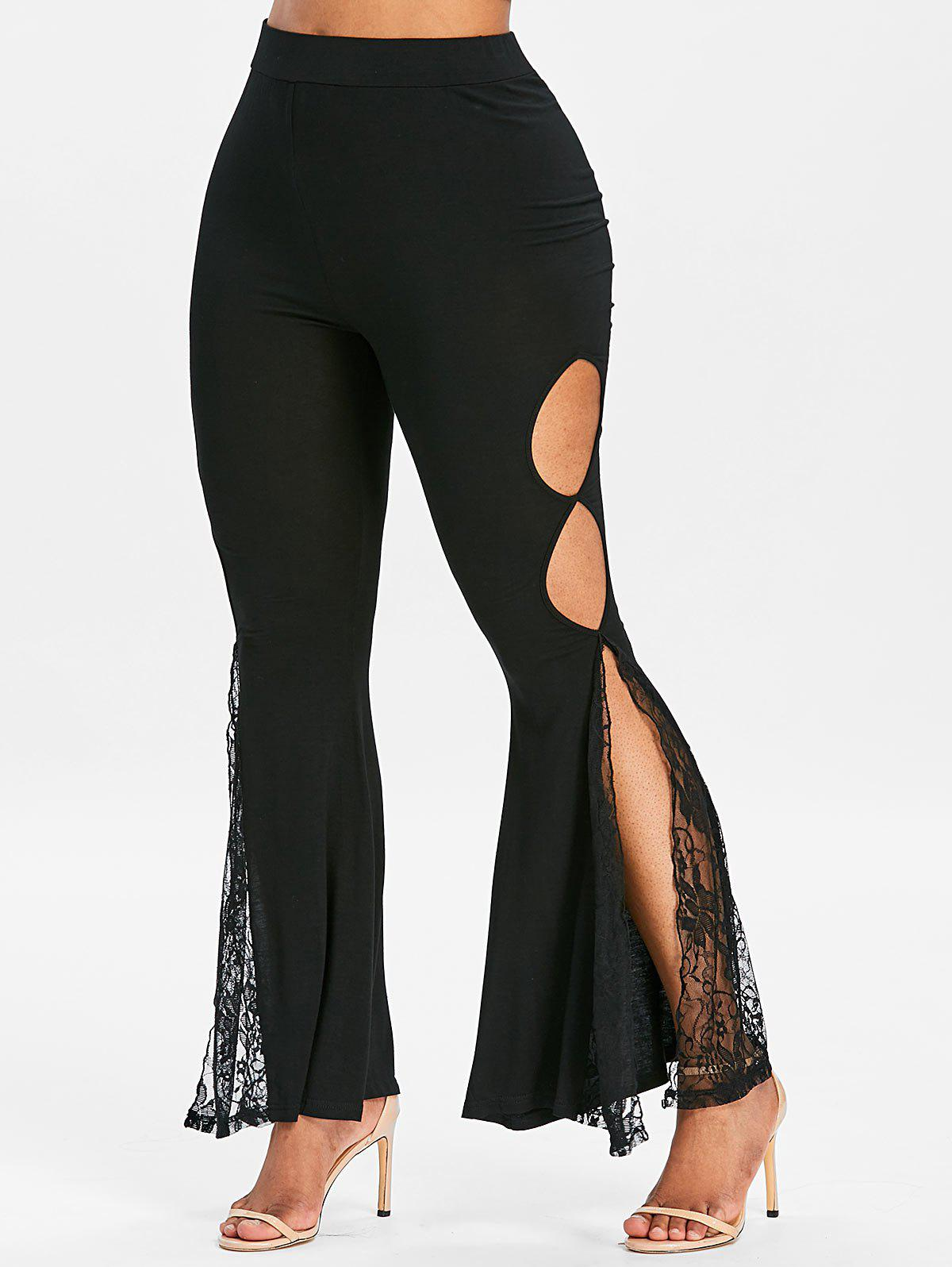 Outfits Cut Out Lace Panel Side Slit Flare Pants