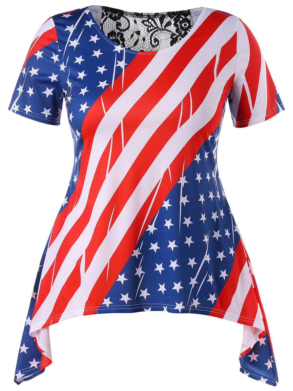 Fashion Asymmetrical Plus Size American Flag T-shirt