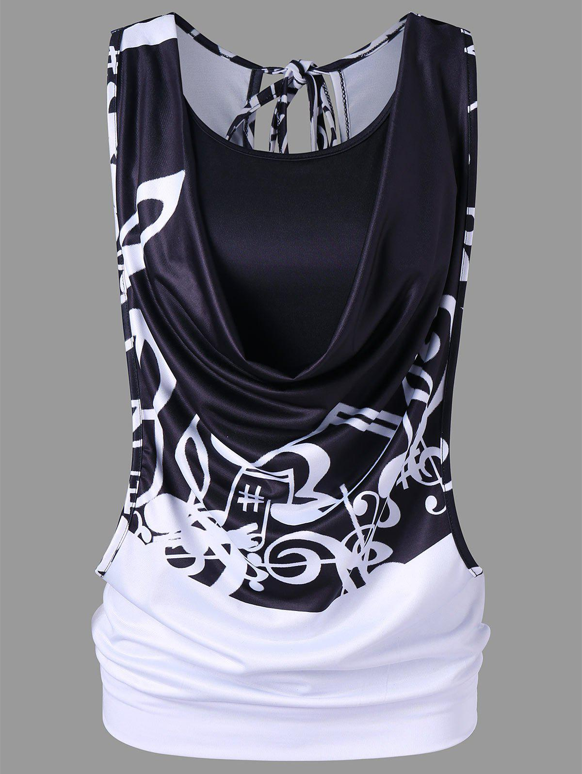 Cheap Music Note Cut out Tank Top with Camisole