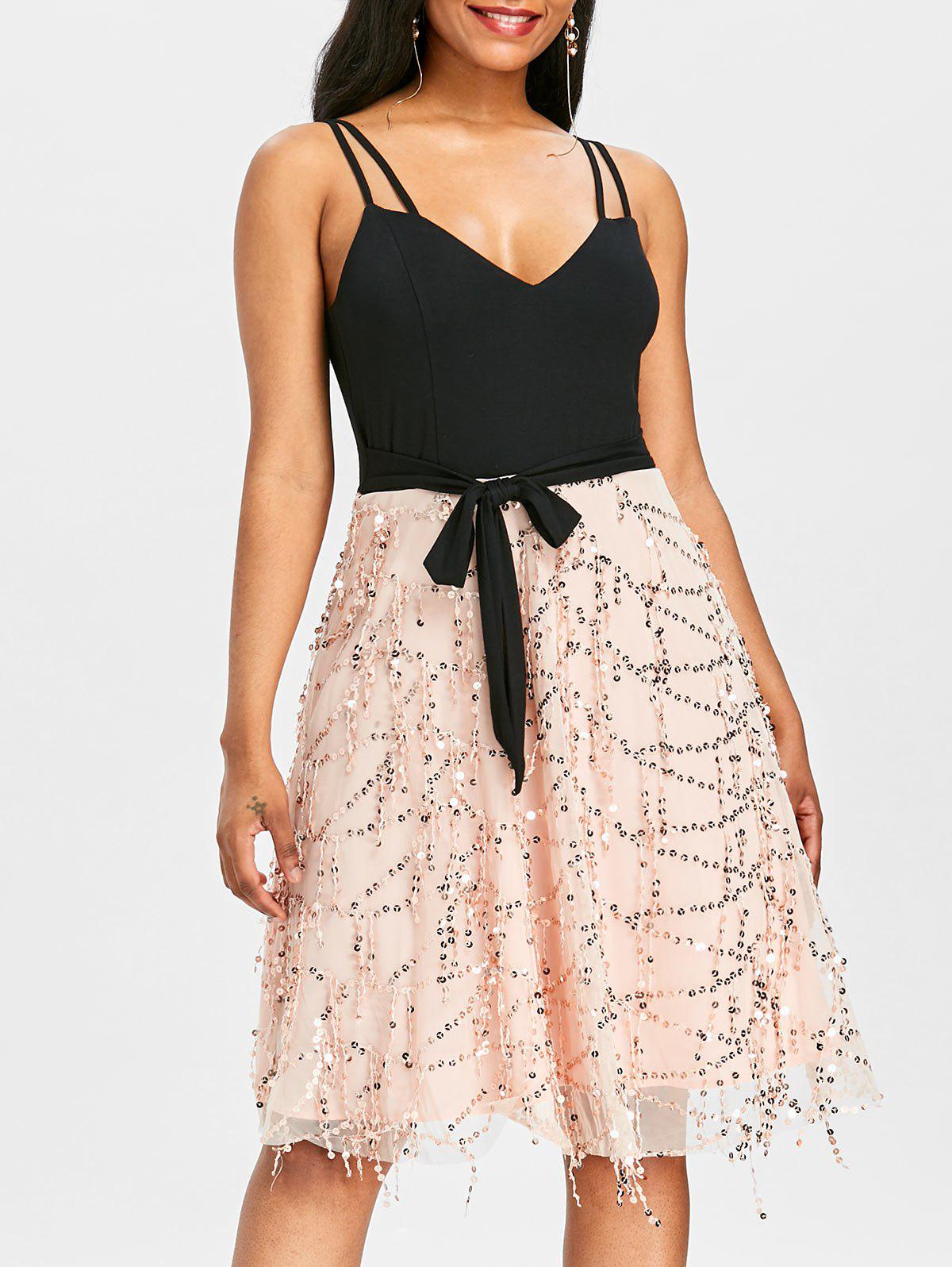 Store Double Straps Sequins Fit and Flare Dress