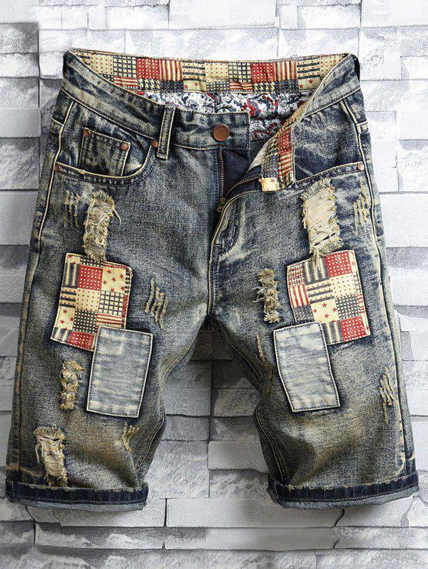 Trendy Applique Zipper Fly Destroyed Denim Shorts