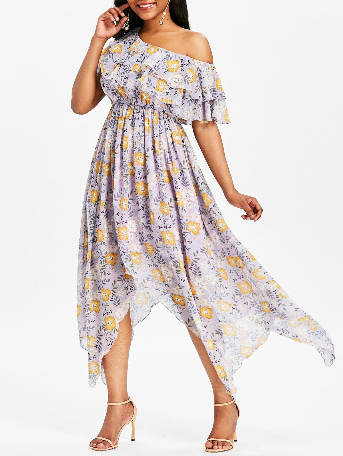 Unique Ruffle High Waisted Floral Dress