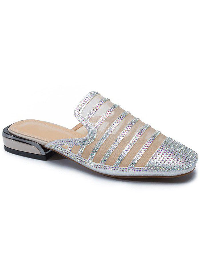 Shop Faux Crystal Decorate Breathable Mesh Patchwork Slippers
