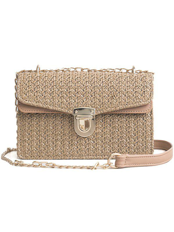 Chic Color Striped Vintage Straw Crossbody Bag
