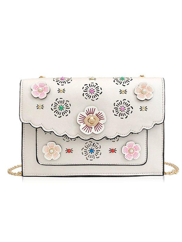 New Hollow Out 3D Floral Detail Crossbody Bag