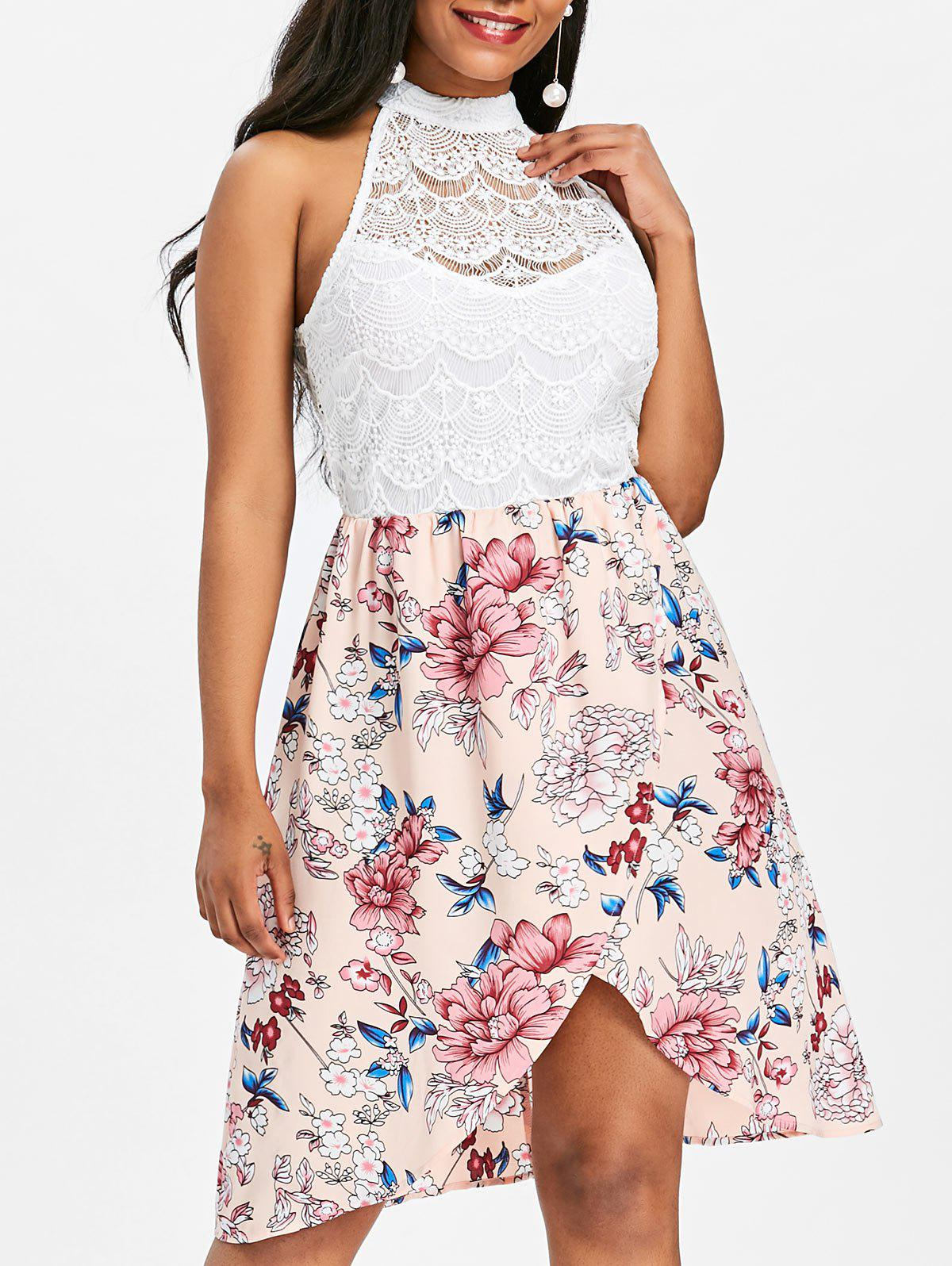 Sale Floral Print Lace Panel Sleeveless Dress