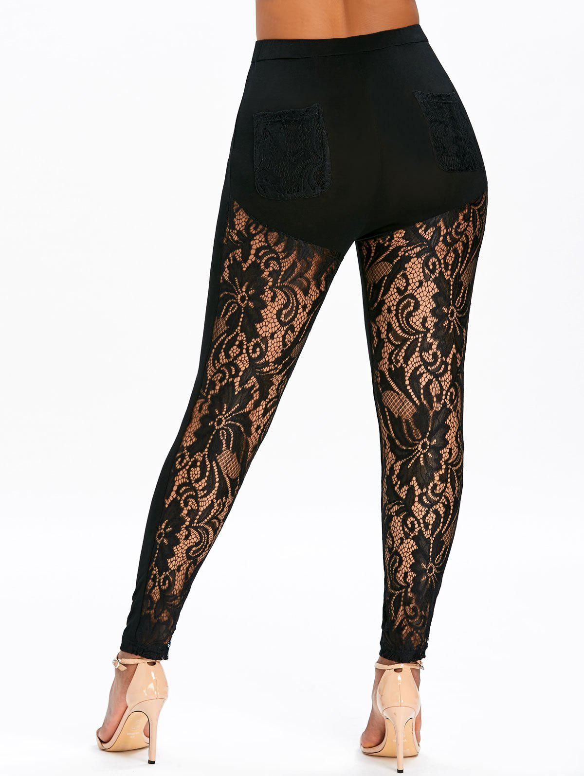 New Sheer Lace Panel Pockets Skinny Leggings