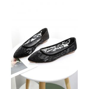 Breathable Lace Pointed Toe Flats -