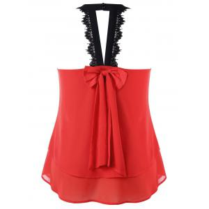Plus Size Bowknot Embellished Tiered Sleeveless Blouse -
