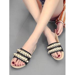 Espadrille Leisure Faux Pearl Slide Sandals -