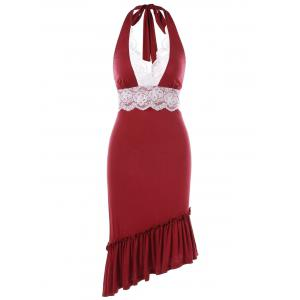 Halter Lace Panel Party Bodycon Dress -