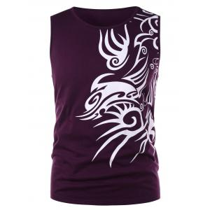 Tribal Print Fitted Tank Top -