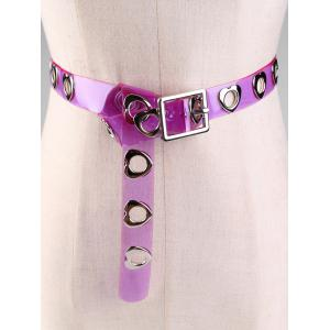 Hollow Out Heart Rivet Decorative Jelly Waist Belt -