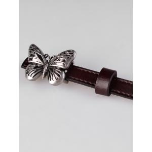 Retro Carved Butterfly Buckle Faux Leather Skinny Belt -