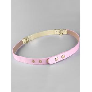 Glitter Metal Bar Faux Leather Skinny Belt -