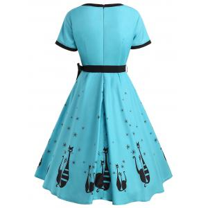 Vintage Cat Print Swing Dress -