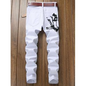 Graphic Print Slim Fit Jeans -