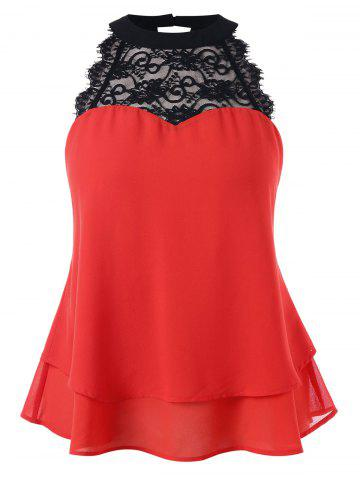 Sale Plus Size Bowknot Embellished Tiered Sleeveless Blouse