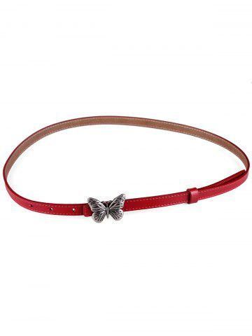 Shops Retro Carved Butterfly Buckle Faux Leather Skinny Belt