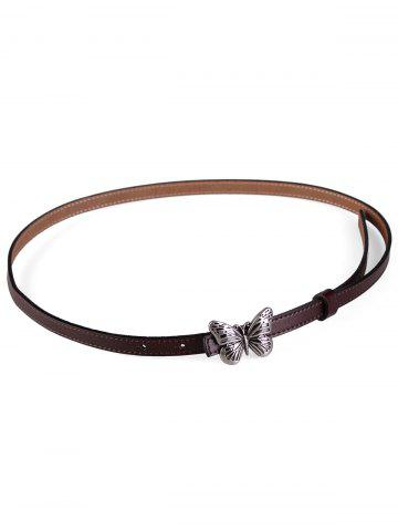 Chic Retro Carved Butterfly Buckle Faux Leather Skinny Belt