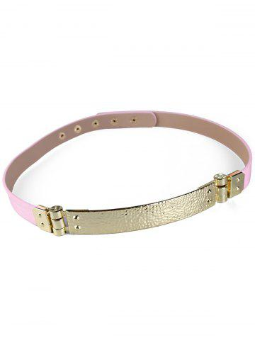 Affordable Glitter Metal Bar Faux Leather Skinny Belt