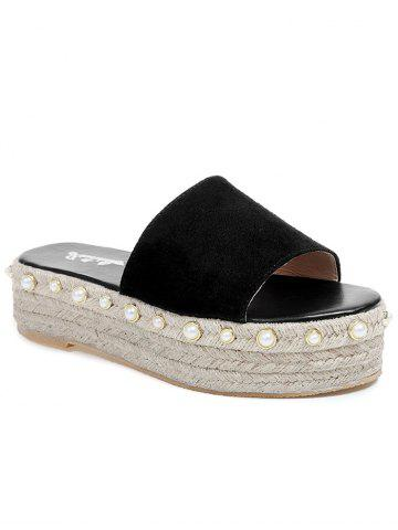 Fancy Faux Pearl Detail Platform Beach Slippers